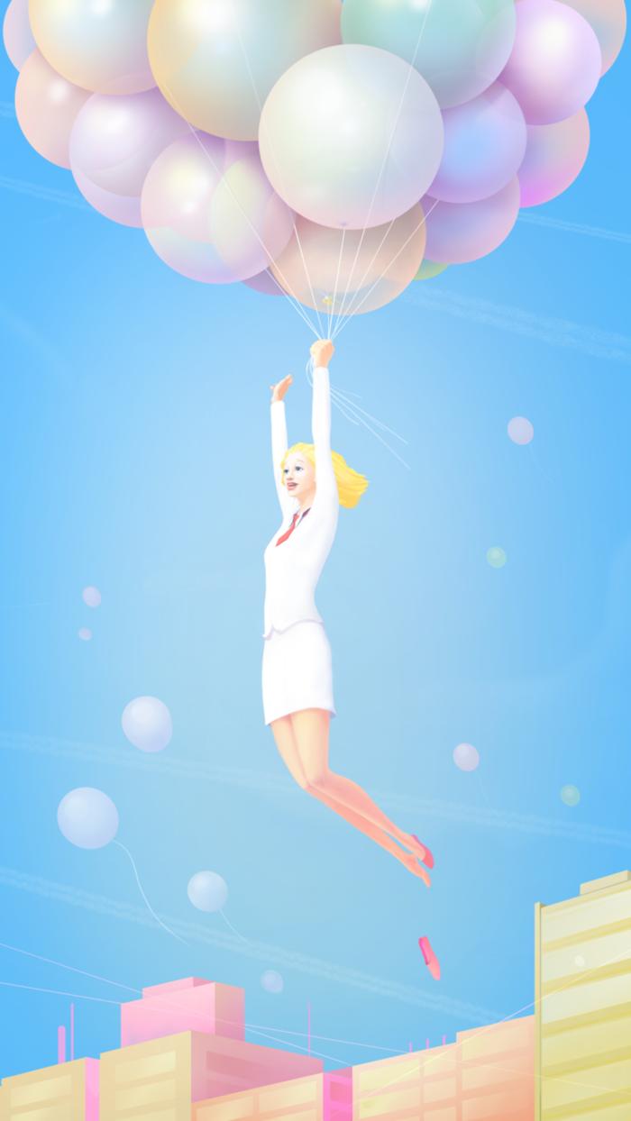 Лето отдых, открытка воздушная девушка