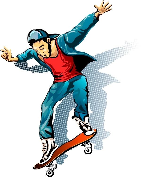 Скейтеры нарисованы
