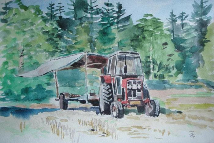 Рисунок тракториста рядом с трактором
