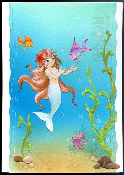 Открытки дню, открытка русалка