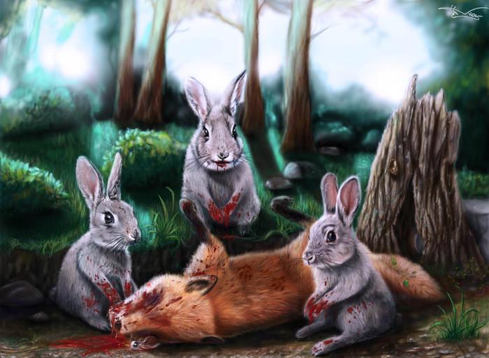 картинка лиса и кролик в лесу эксцентричной комедии