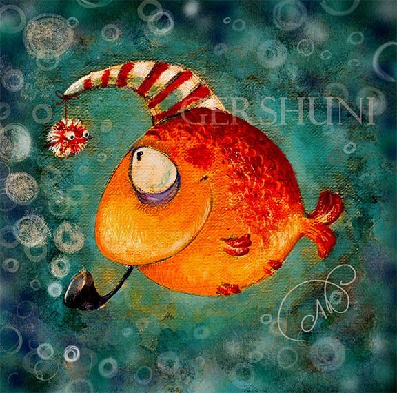 Анимация танцует, рисунки смешных рыб