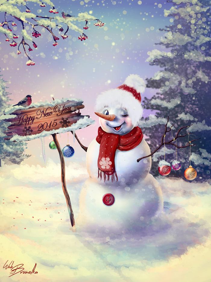 Снеговики открытки новогодние