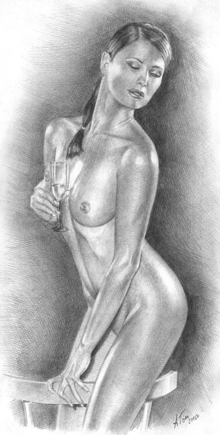 Обнаженная Женщина Рисунок Карандашом