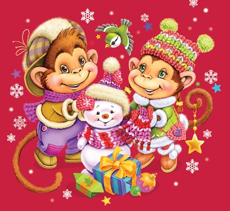 Открытки новогодних обезьянок