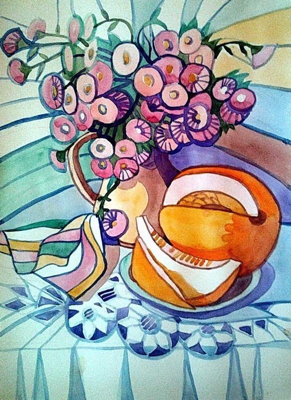 Декоративный натюрморт с цветами