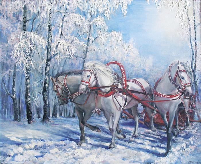 Тройка белогривых зимних коней открытки
