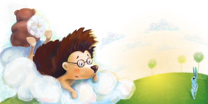 картинка ежика на облаке