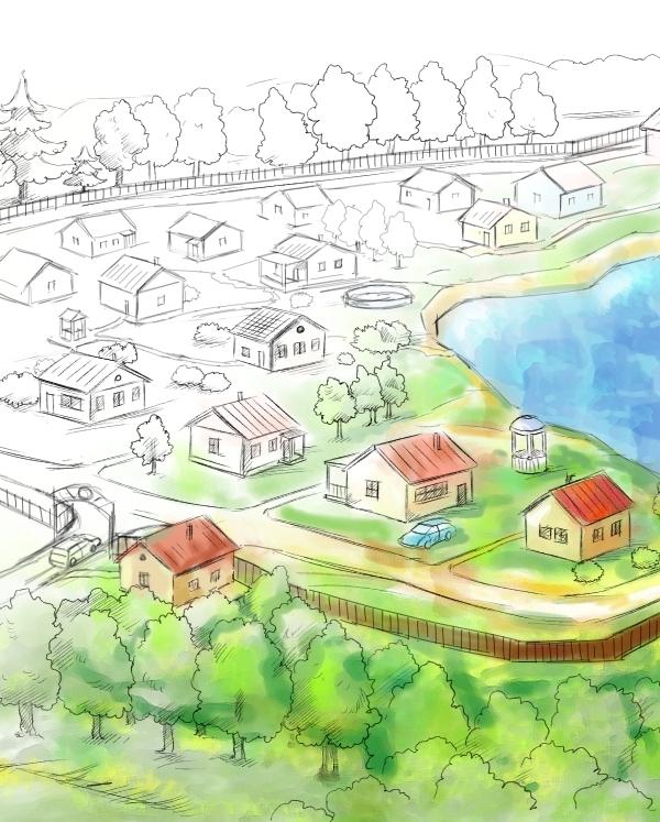 Рисунок своего поселка