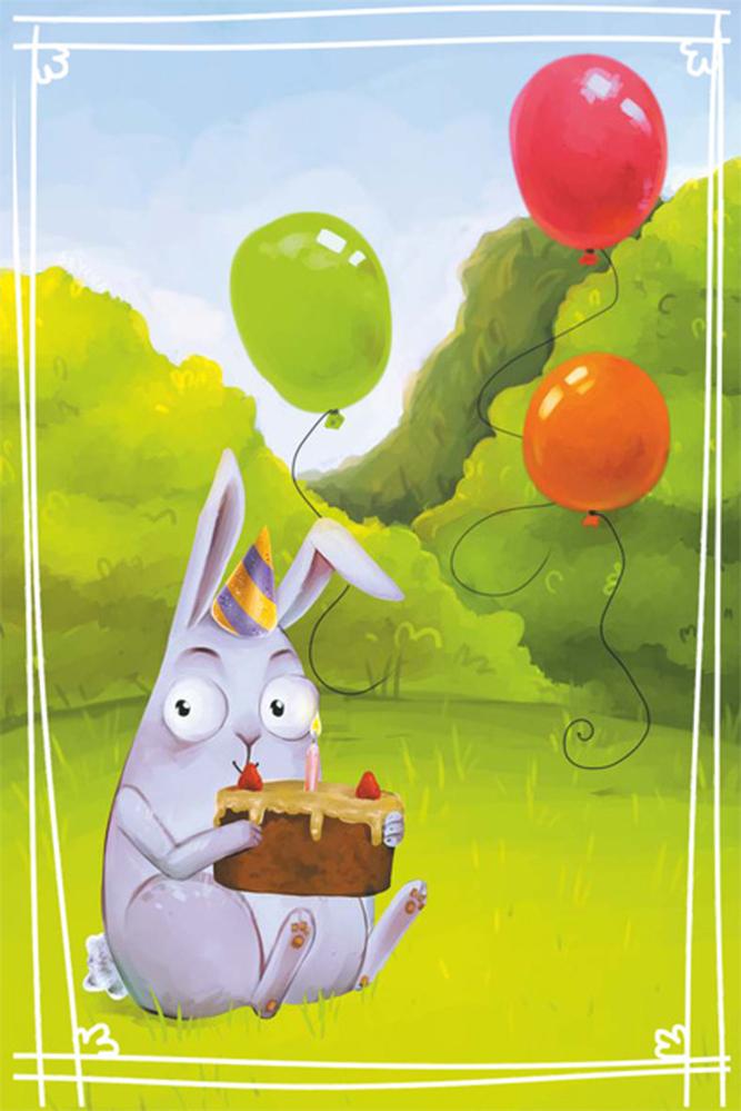 открытка с днем рождения зайчика что