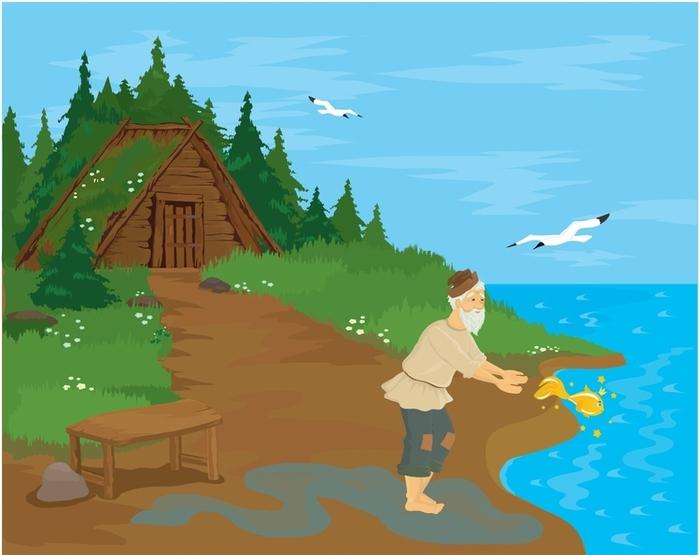 как рисовать деда из сказки о рыбаке и рыбке поэтапно