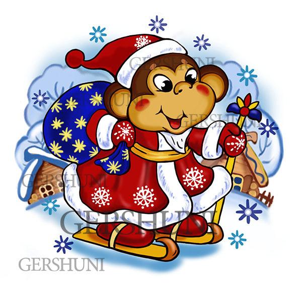 год рисунок обезьяны новый