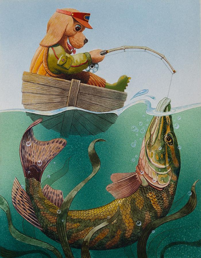 Картинка рыбака в лодке