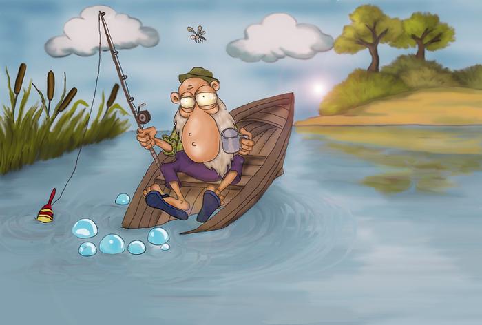 как рыбак перевернулся в лодке