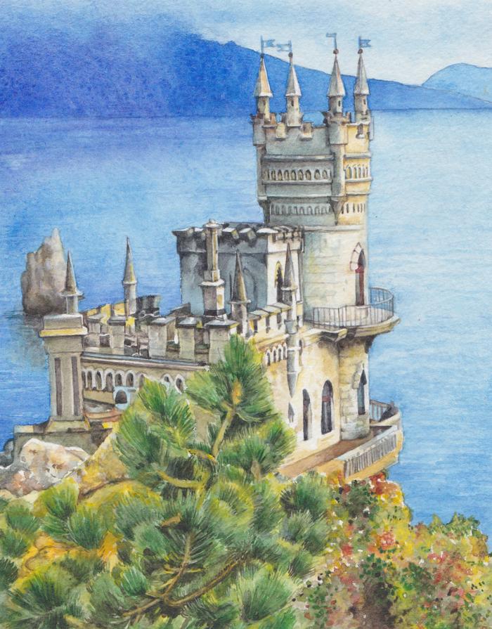 Крым рисунок акварелью