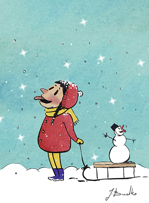Смешной рисунок зимы