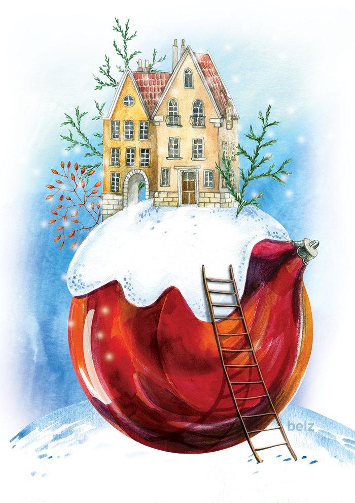 Рисуем открытки на новый год акварелью, картинках для детей