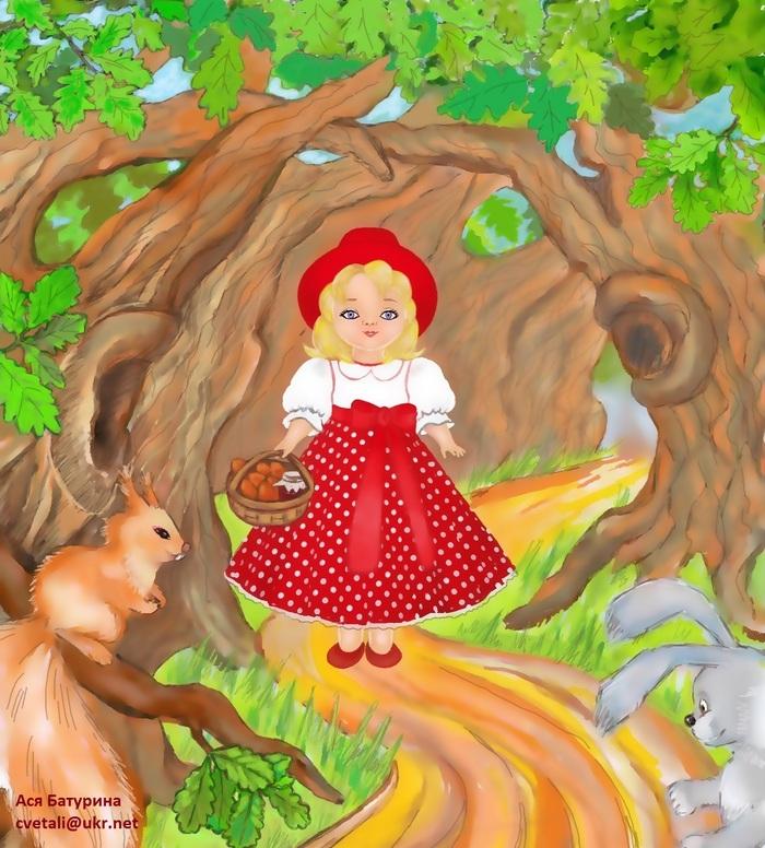 Детские рисунки к сказке красная шапочка