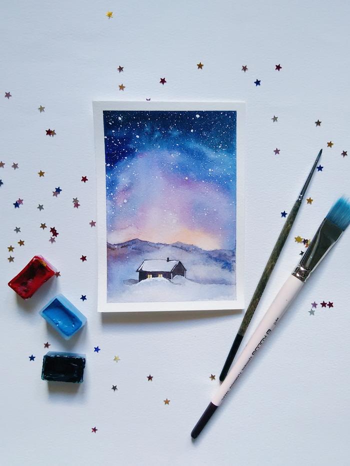 Новый, как рисовать новогодние открытки акварелью