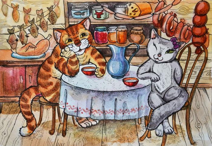 Картинка зверюшки пьют чай