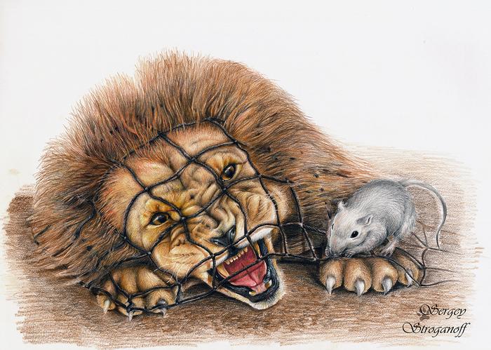 лев и мышь сказка с картинками сумма