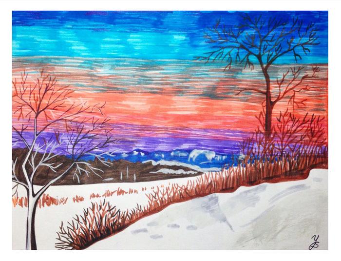 Рисунки фломастерами пейзаж