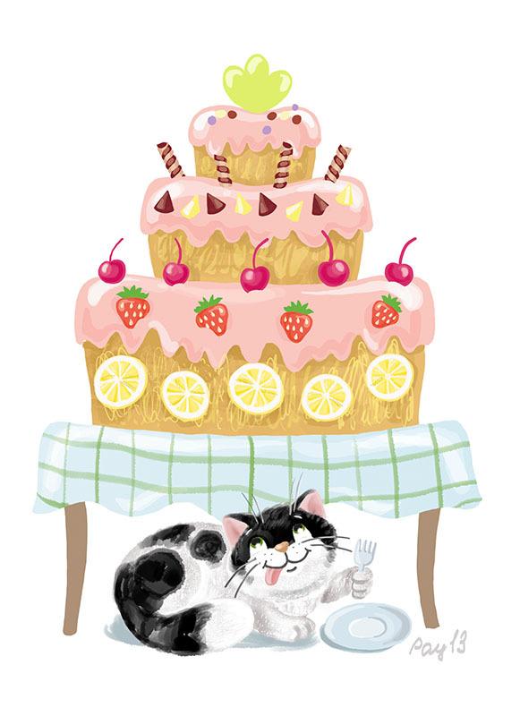 Торт открытка с котом
