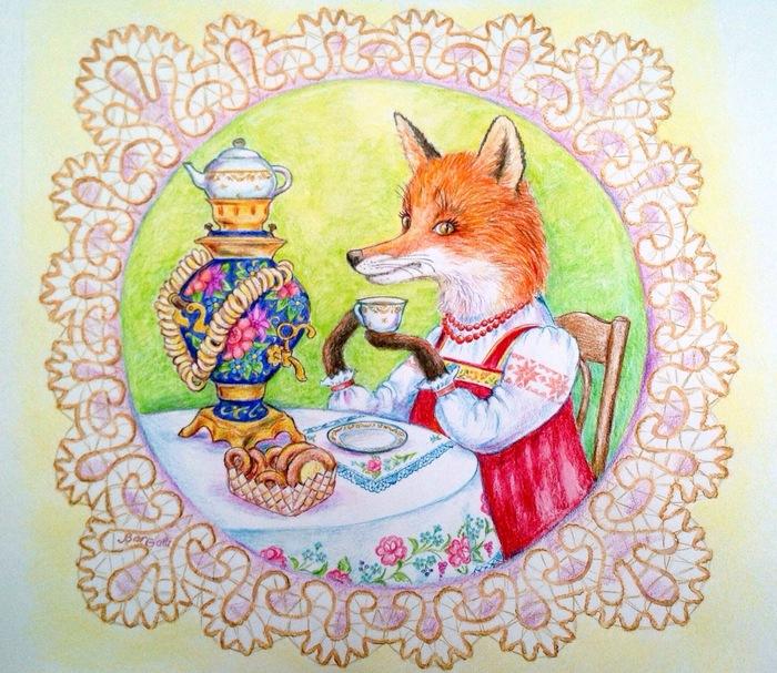 Лисички на открытке, днем рождения