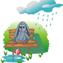 Картинка зайка под дождем на скамейке