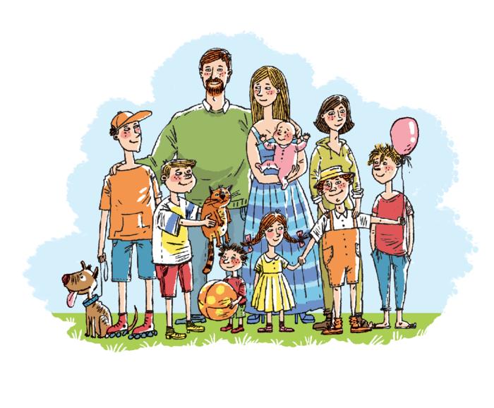 Рисунки семья прикольные, открытку рождением