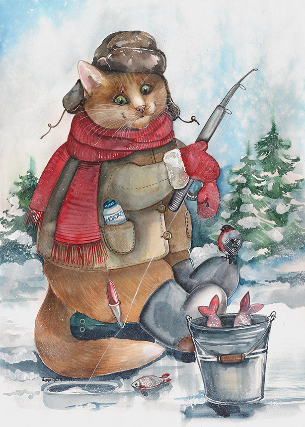 Картинки кошек на рыбалке
