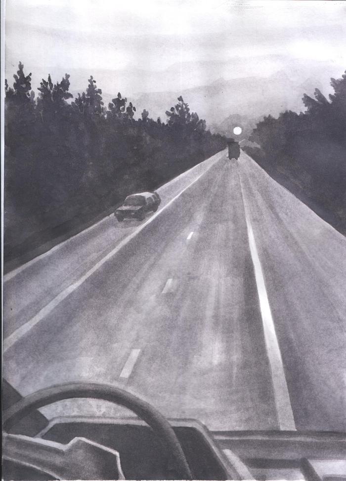 Дорога с машинами картинки карандашом
