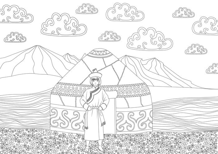 рисунок на тему моя родина казахстан поэтапно