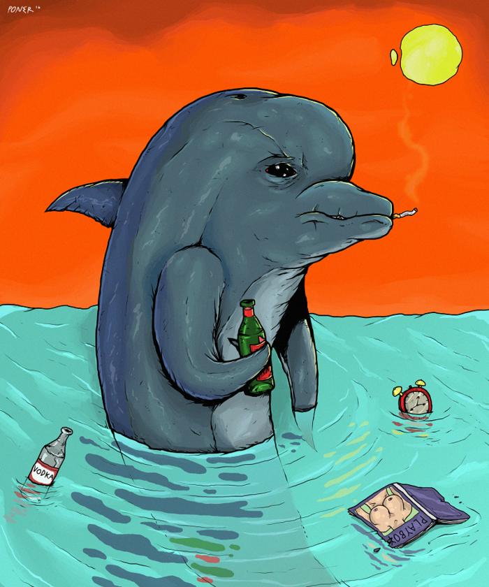 Картинки грустный дельфин