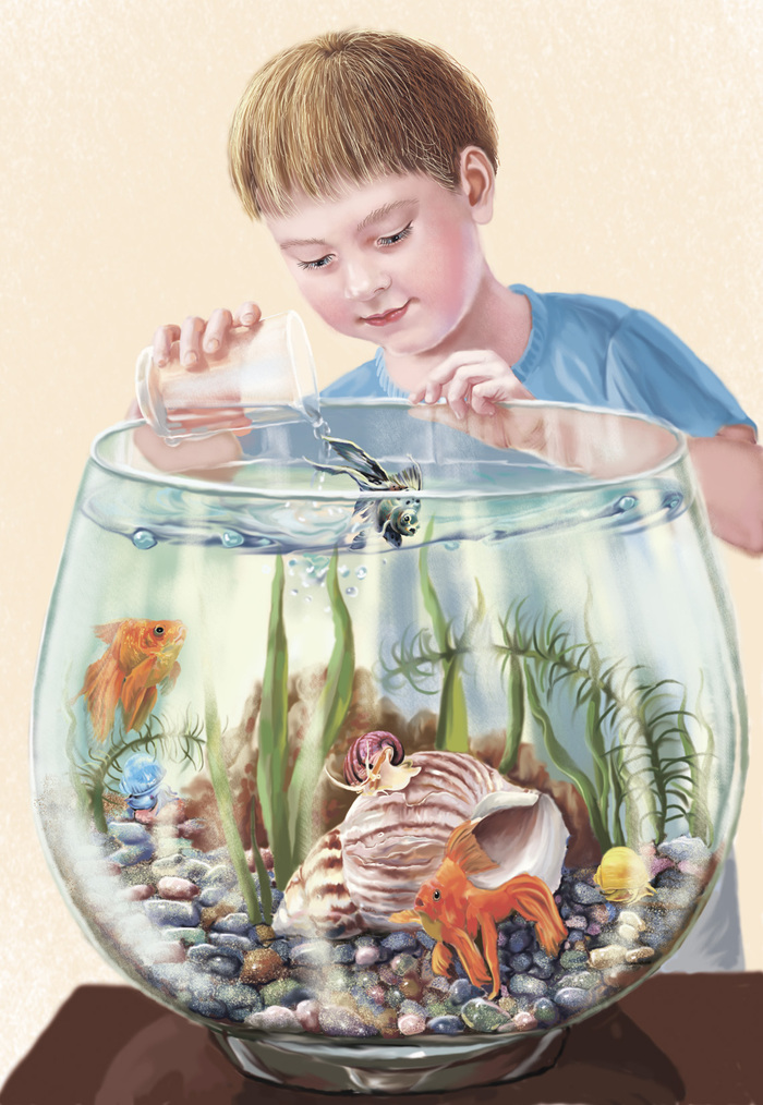 синими, картинка кормить рыбок в аквариуме обзор