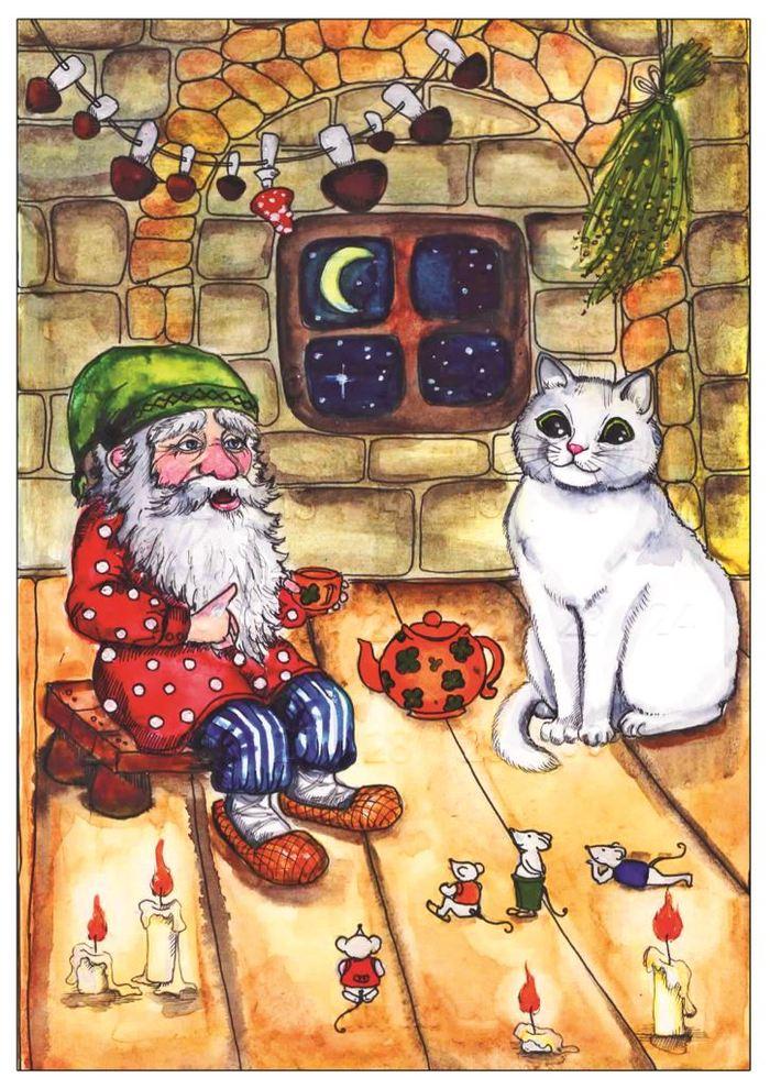 Коты с гномами картинки