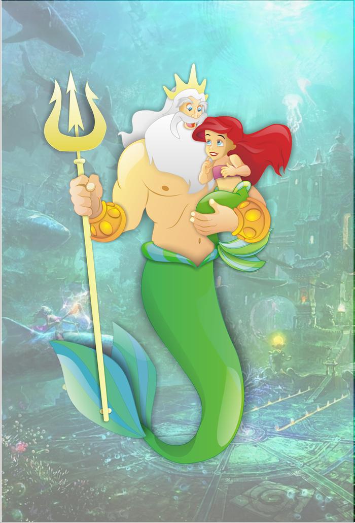 Русалка и нептун картинки